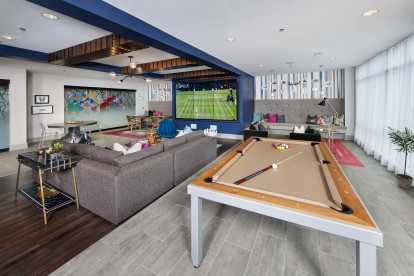 Resident clubroom with wifi and billiards table