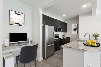 Kitchen stainless steel appliances home office space