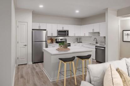 Kitchen with large kitchen island