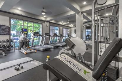 Fitness center cardio weight machines