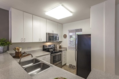 Windowed kitchen with stainless steel appliances