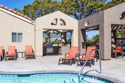 Poolside barbeques and outdoor dining area