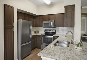 Contemporary-style kitchen with stainless steel appliances at Camden Farmers Market Apartments in Dallas, TX