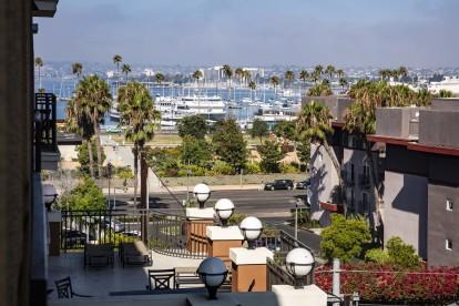 View from balcony towards boats