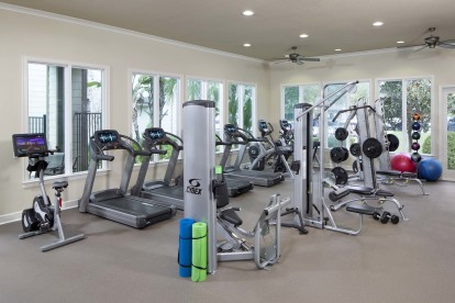 Fitness center with circuit training cardio equipment and spin bikes