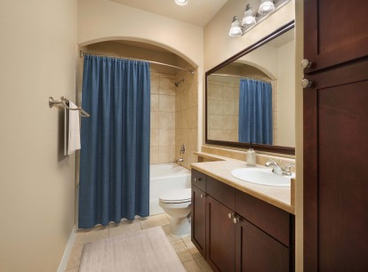Bathroom with single vanity soaking tub and curved shower rod