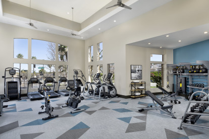 Fitness center weight machines and dumbbell free weights