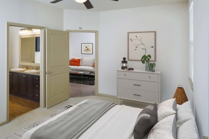 Bedroom with carpet and ceiling fan
