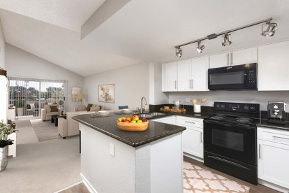 Open concept floor plan kitchen living and dining room with sliding glass door access to private patio