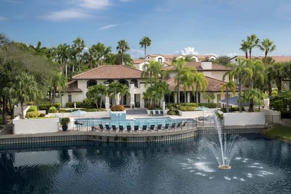 Resort style pool alongside lake within community