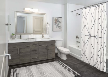 Spacious Bathroom with Double Vanities, Shower and Bathtub