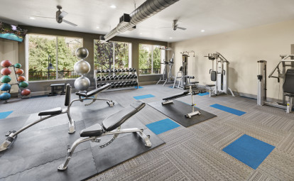 Fitness center with strength training equipment and free weights at Camden Farmers Market Apartments in Dallas, TX