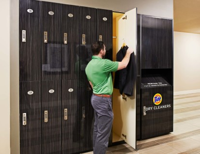 Dry cleaning drop off and pick up lockers onsite