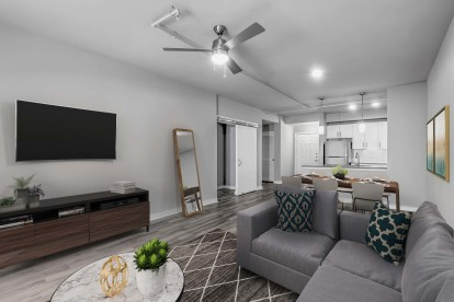 Contemporary midrise apartment living room and dining area