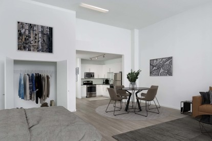 Street level apartment high ceilings studio with wood inspired flooring