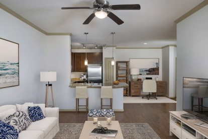 Open concept kitchen with space for dining or home office