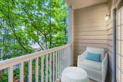 Private balcony with lush greenery