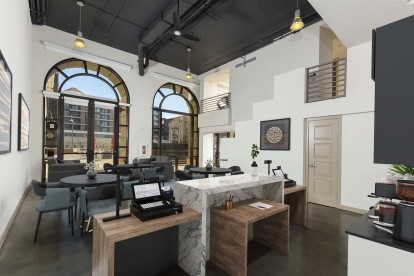 Commercial work space with arched windows under loft ceiling