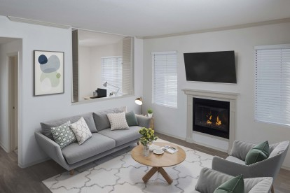 With fireplace and den