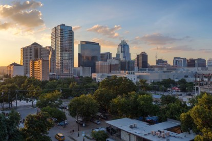 View of downtown austin at dusk