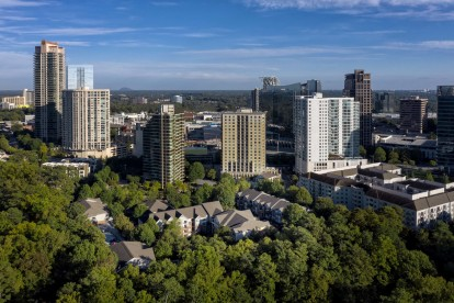 Aerial view of community located near downtown atlanta