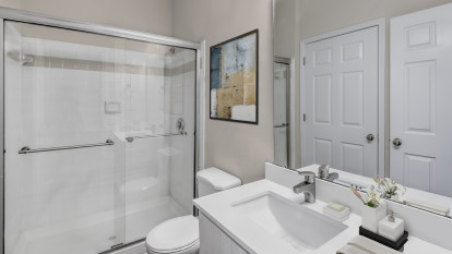 Bathroom with stand-up shower with glass door at Camden Governors Village Apartments in Chapel Hill, NC