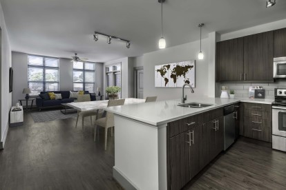 Kitchen overlooking dining and living room