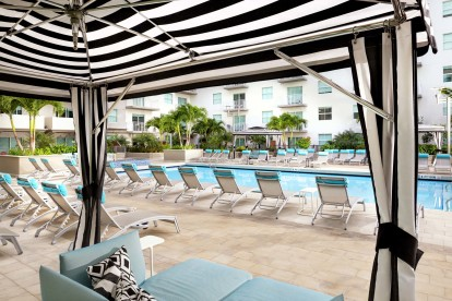 Pool cabanas and many lounging areas