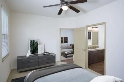 Bedroom with bathroom suite