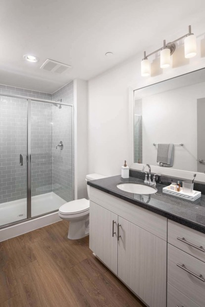 Bathroom with glass enclosed shower granite countertops and wood look flooring