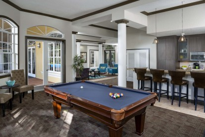 Resident lounge with billiards and entertainment kitchen