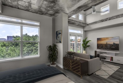 Contemporary midrise apartment studio bedroom with double windows and city skyline views