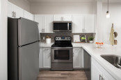 Open-concept kitchen with wood-style flooring, white quartz countertops, white shaker cabinets, gray subway tile backsplash, and stainless steel appliances