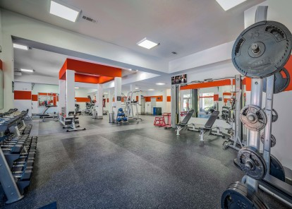 3000 sq ft fitness center with weight training