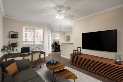 Living room with home office space