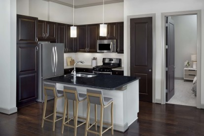 Tower kitchen with black quartz countertops, hardwood-style flooring, and pendant lights