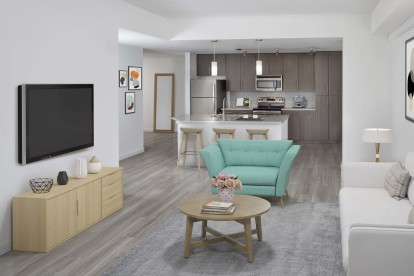 Open concept kitchen with island and living room
