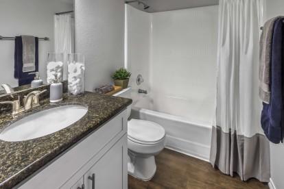 Bathroom with large bathtub granite countertops and wood look flooring