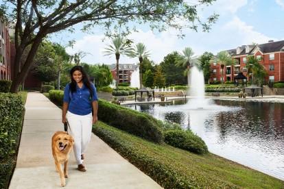 Manicured pet friendly walking trail