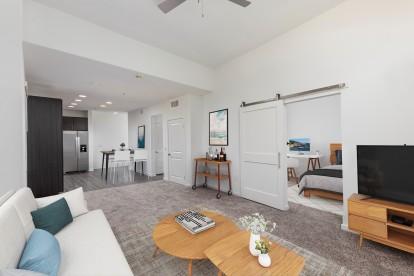 Open concept living room with barn door to bedroom
