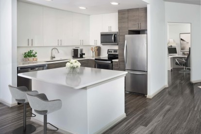 Beautiful kitchen with adjacent home office space