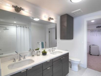 Bathroom suite with walk in closet and double sink vanity