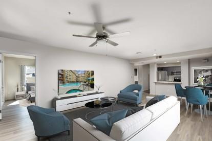Living room alongside bedroom