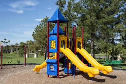 Playground with swing set