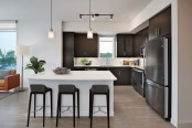 Kitchen with quartz countertops stainless steel appliances espresso cabinets and wood look flooring