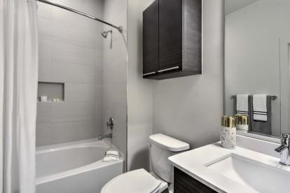 Bathroom with curtain