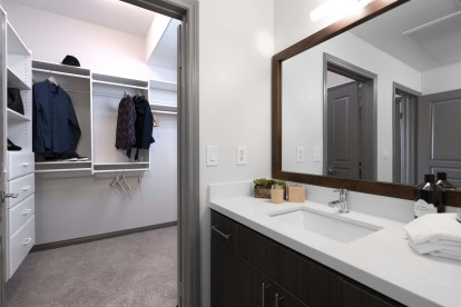 Modern style bathroom white quartz countertops and walk in closet with built in drawers and shelves