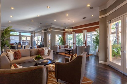 Resident lounge with seating areas