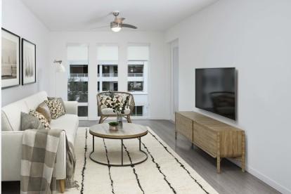 B1 Floor Plan with Floor-To-Ceiling Windows in Living Room.