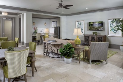 Resident lounge and community workspace with kitchen